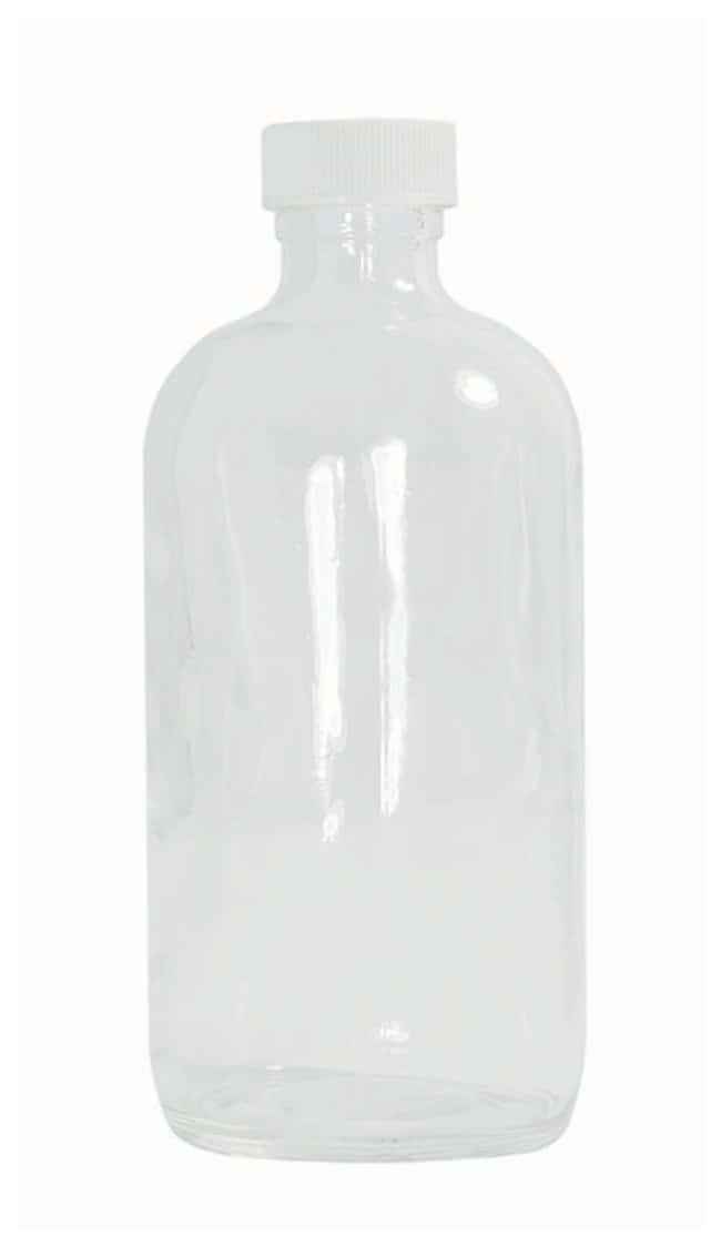 Qorpak™Clear Boston Round Bottles with White Polypropylene Hole Cap and Bonded PTFE/Silicone Septa