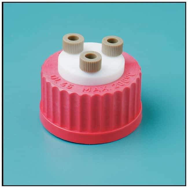 GL45 Three-Hole Delivery Cap, Red High Temperature (180 C) PBT with PTFE liner