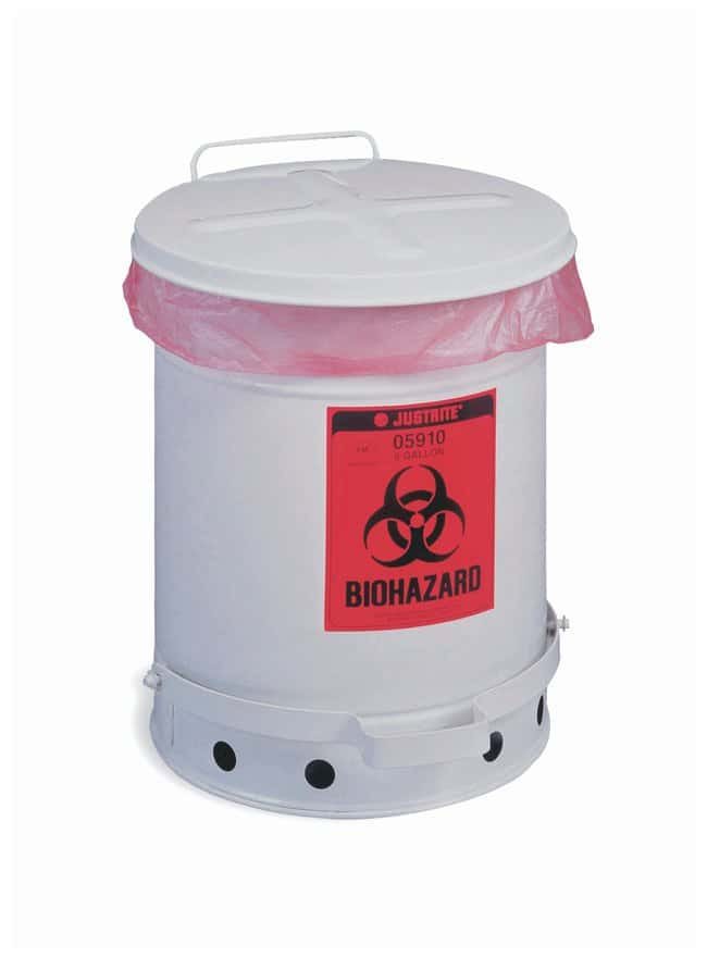 Justrite FM-Approved Biohazard Waste Container  Capacity: 10 gal. (38L):Teaching