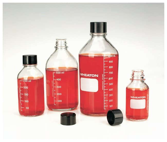 DWK Life Sciences Wheaton™ Graduated Media/Lab Bottles: Clear Glass, With Rubber-Lined Cap (Autoclavable)