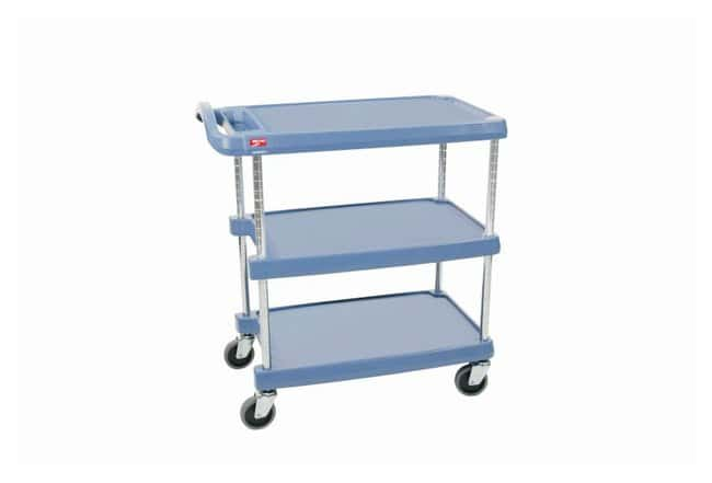 Metro™ myCart Series™ Utility Cart, Blue 3-Shelf base model; Blue with antimicrobial; Load rating: 500 lbs. (227.3kg); Size: 27.68 x 40.25 x 36.62 in. (70.3 x 102.2 x 93cm) W x L x H Metro™ myCart Series™ Utility Cart, Blue