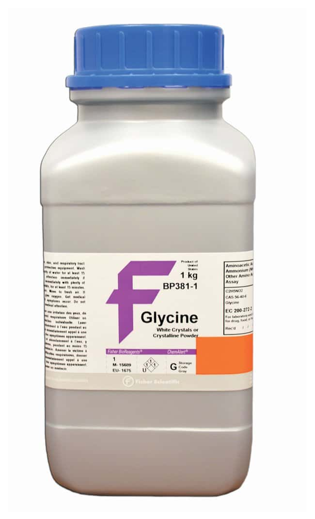 Glycine (White Crystals or Crystalline Powder), Fisher BioReagents™: Alpha amino acids and derivatives Amino acids and derivatives