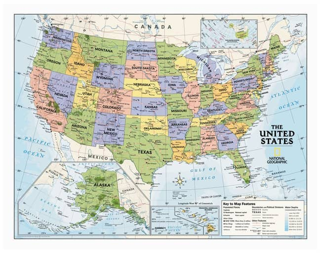 National Geographic Us Map National Geographic U.S. and World Political Wall Maps :Teaching