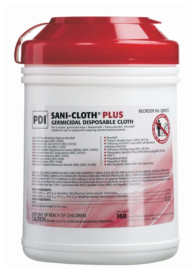 PDI Sani-Cloth Plus Germicidal Disposable Cloths:Testing and Filtration:Food
