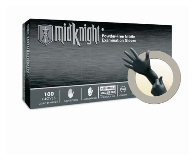 Microflex MidKnight Black Powder-Free Nitrile Examination Gloves  X-Small:Gloves,