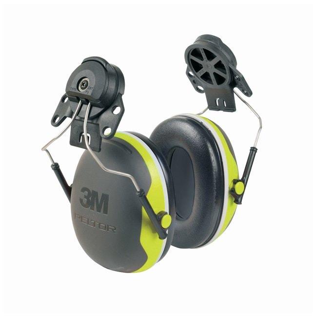 3M Peltor X4P3E Hard Hat-Attached Earmuffs 25 dB reduction; 8.32oz.; Black/Chartreuse:Gloves,