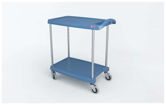 Metro™ myCart Series™ Utility Cart, Blue 2-Shelf base model; Blue with antimicrobial; Load rating: 300 lbs. (136.4kg); Size: 23.5 x 34.37 x 35.37 in. (59.7 x 87.3 x 89.9cm) W x L x H Metro™ myCart Series™ Utility Cart, Blue