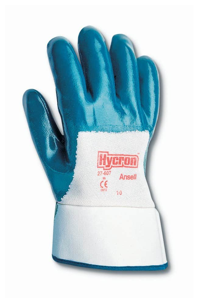 Ansell Hycron 27-607 Series Blue Nitrile Heavy Weight Gloves Palm and cuff
