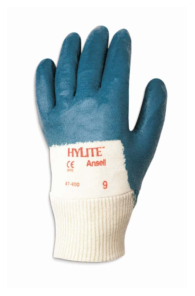 Ansell™HyFlex™ 47-400 Series Blue Nitrile Medium Weight Gloves Palm coated; Knitwrist; Size: 8 Products