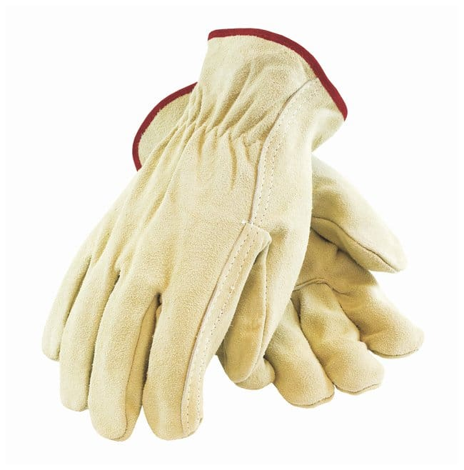 PIP Regular Grade Split Cowhide Leather Straight Thumb Drivers Gloves Hem