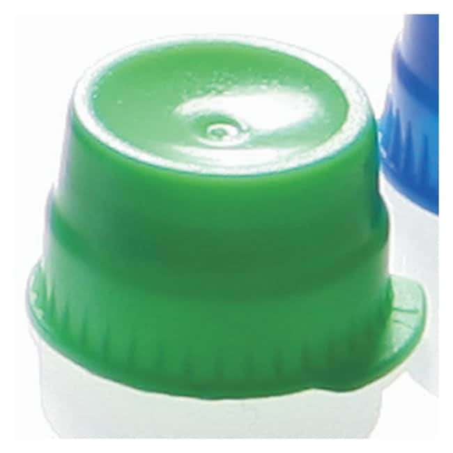 Globe Scientific Snap Caps with Single Thumb Tab for 13mm Tubes Green (code