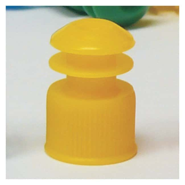 Globe Scientific Flanged Plug Tube Caps Size: 12mm; Color: Yellow:Beakers,