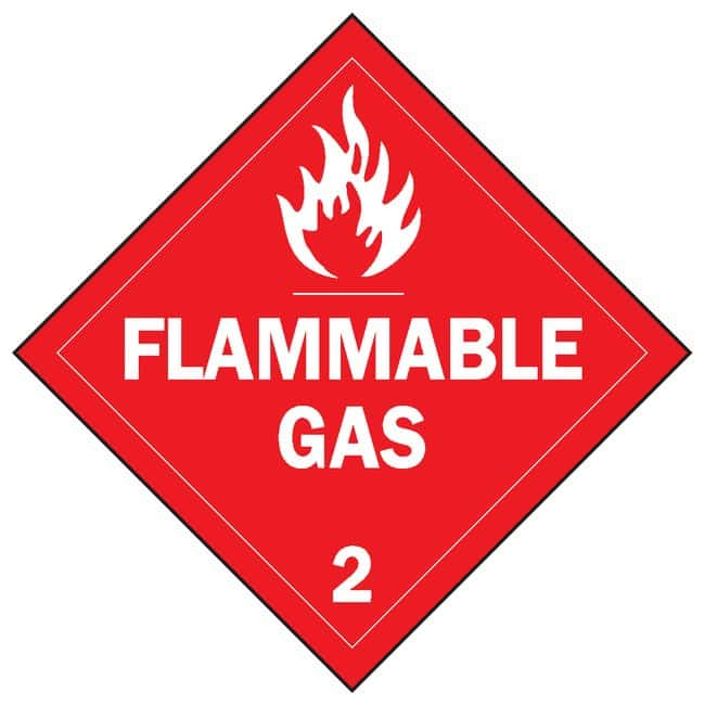 Brady Vehicle Placards FLAMMABLE GAS 2 (w/Picto); White on red:Gloves,