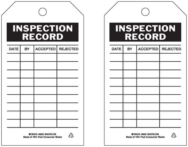 Brady Accident Prevention Tags with Same Fronts and Backs:Gloves, Glasses