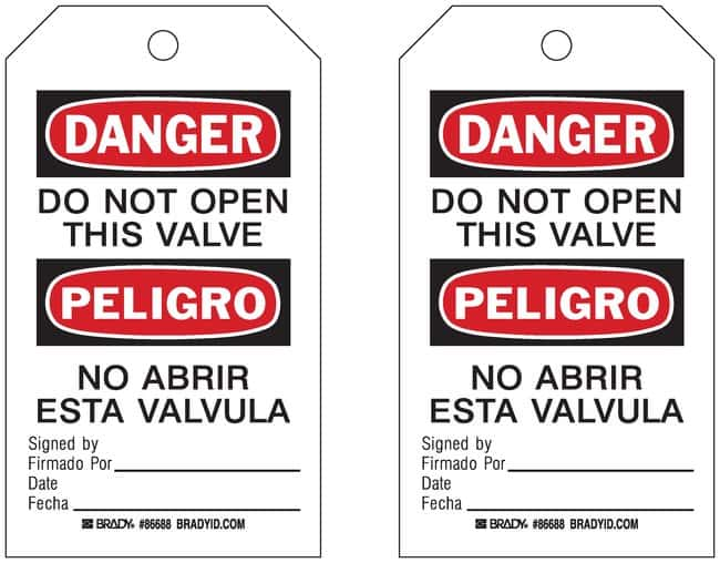 Brady Do Not Open / Do Not Open Valve Tags:Gloves, Glasses and Safety:Facility