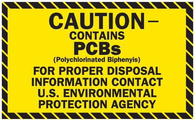 Brady PCB Markers Message: Caution Contains PCBs; EPA Reference 761.44(b);