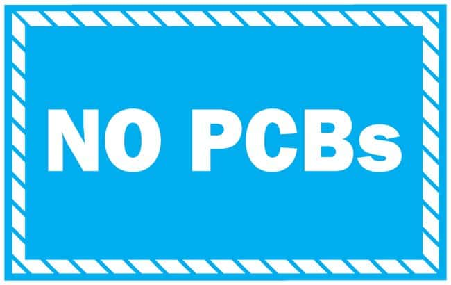 Brady PCB Markers Message: No PCBs; Vinyl; 1 x 2 in.:Gloves, Glasses and