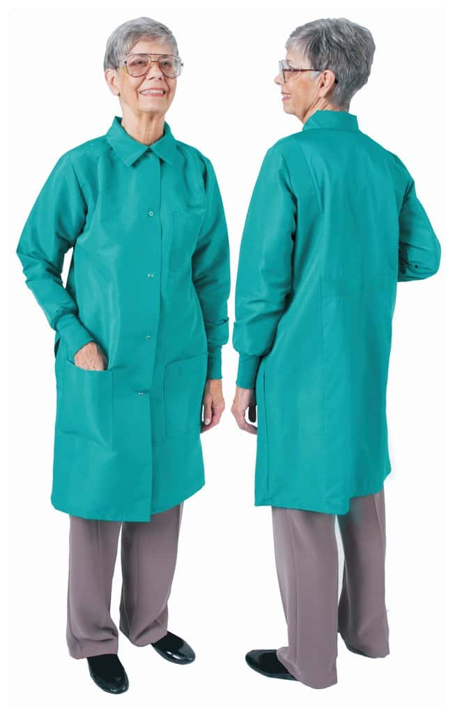 DenLine Protection Plus Fluid-Resistant Ladies Long-Length Lab Coats Emerald