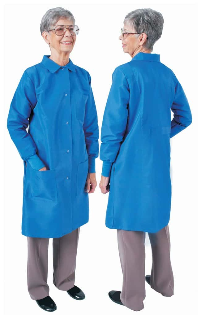 DenLine Protection Plus Fluid-Resistant Ladies Long-Length Lab Coats Royal