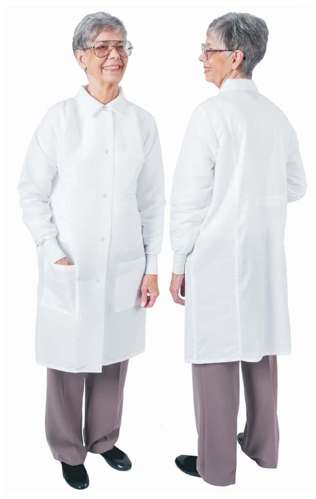 DenLine Protection Plus Fluid-Resistant Ladies Long-Length Lab Coats White;