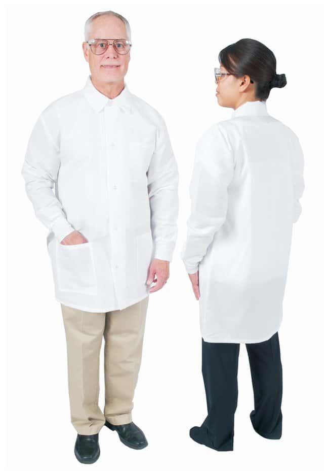 DenLine Protection Plus Fluid-Resistant Mid-Length Lab Jackets White; Size: