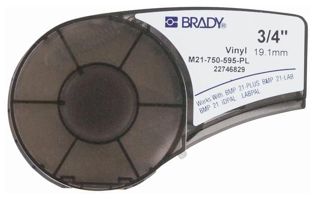 Brady™ Indoor/Outdoor Vinyl Label Cartridges For BMP21 Series, ID PAL, LabPal printers; Color: White on blue; Width: 19.5mm (0.75 in.) Brady™ Indoor/Outdoor Vinyl Label Cartridges