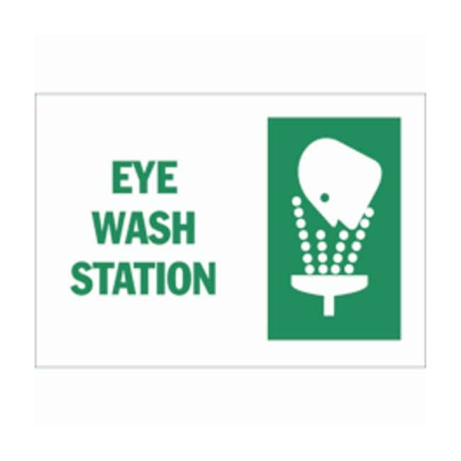 Brady First Aid Signs: EYE WASH STATION (w/Picto) Material: Plastic; Size:
