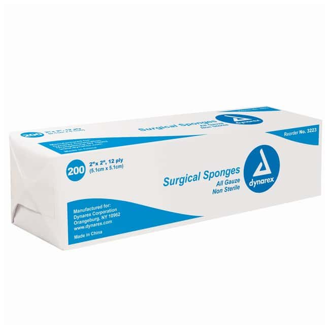Dynarex Sponge Gauze Size: 2 x 2 in.; 12 ply:Gloves, Glasses and Safety