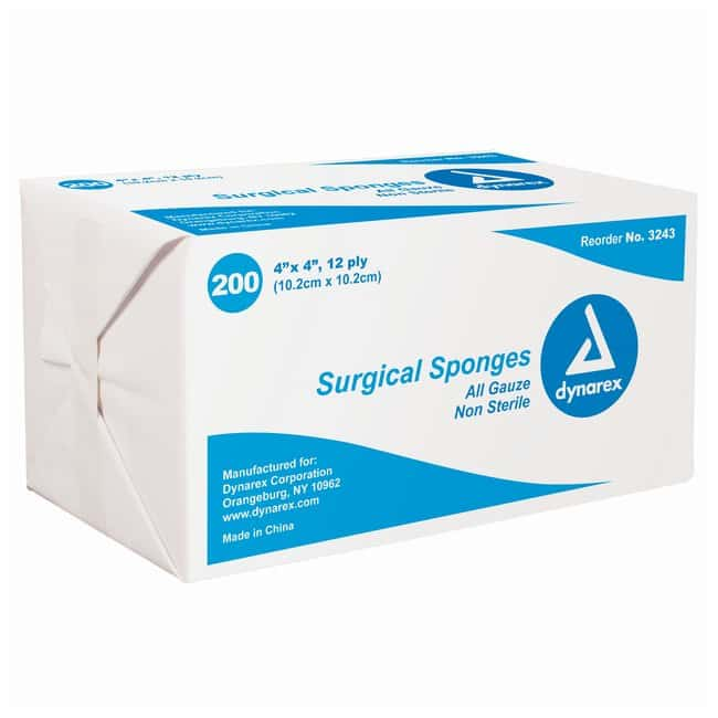 Dynarex Sponge Gauze Size: 4 x 4 in.; 12 ply:Gloves, Glasses and Safety