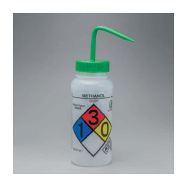 Bel-Art™SP Scienceware™ Right-to-Know, Safety-Vented Wash Bottles with GHS Labeling Label: Methanol; 500mL (16 oz.); Green cap Bel-Art™SP Scienceware™ Right-to-Know, Safety-Vented Wash Bottles with GHS Labeling