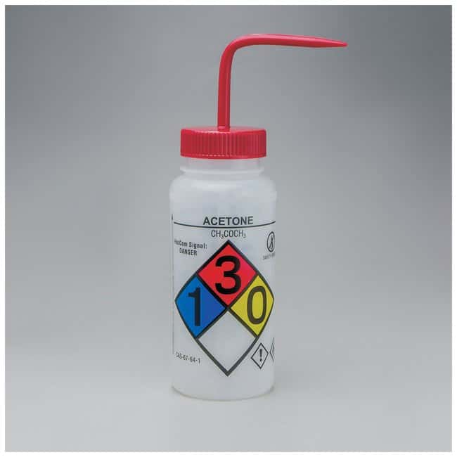 Bel-Art™SP Scienceware™ Right-to-Know, Safety-Vented Wash Bottles with GHS Labeling Label: Acetone; 500mL (16 oz.); Red cap Bel-Art™SP Scienceware™ Right-to-Know, Safety-Vented Wash Bottles with GHS Labeling