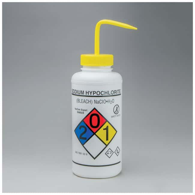 Bel-Art™SP Scienceware™ Right-to-Know, Safety-Vented Wash Bottles with GHS Labeling Label: Sodium Hypochlorite (Bleach); 1000mL (32 oz.); Yellow Cap Bel-Art™SP Scienceware™ Right-to-Know, Safety-Vented Wash Bottles with GHS Labeling