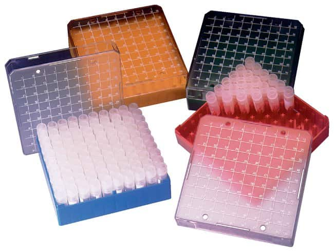 FisherbrandCryovial Storage Boxes Holds 81 tubes; Yellow; 4/Pk.:Boxes