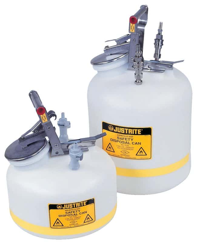 Justrite Prefabricated Quick-Disconnect Safety Disposal Cans  With SS fittings;