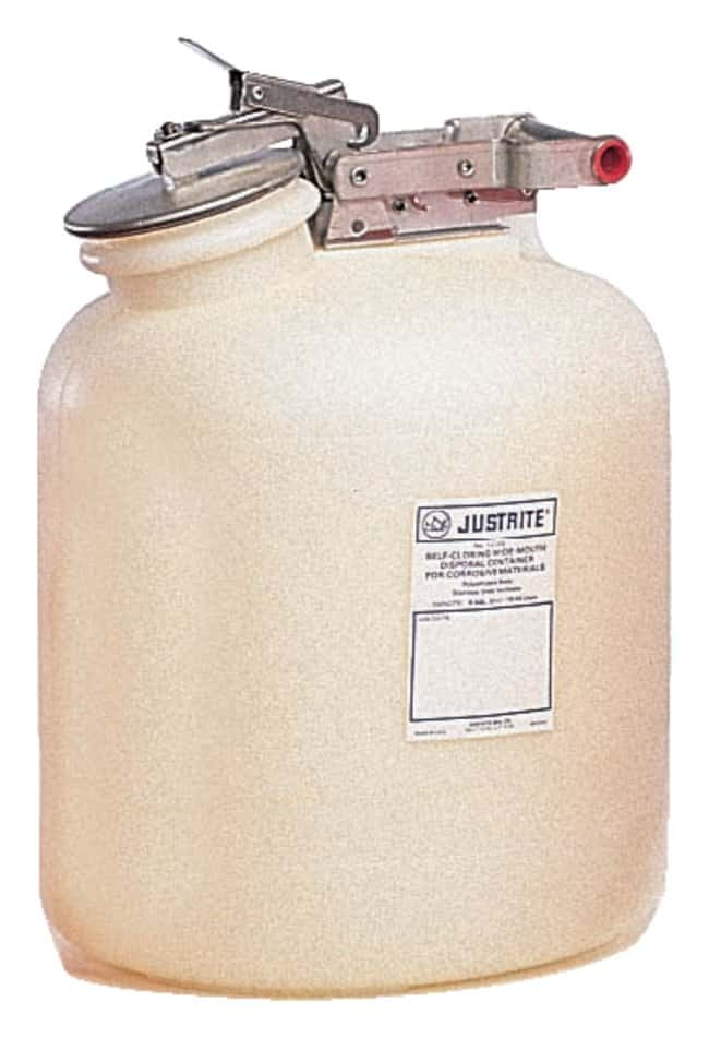 Justrite™Nonmetallic Self-Close Corrosive Safety Containers Fittings: Stainless steel; Capacity: 2 gal. Justrite™Nonmetallic Self-Close Corrosive Safety Containers