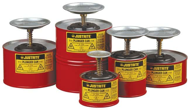 Justrite Plunger Dispensing Can :Gloves, Glasses and Safety:Hazardous Materials
