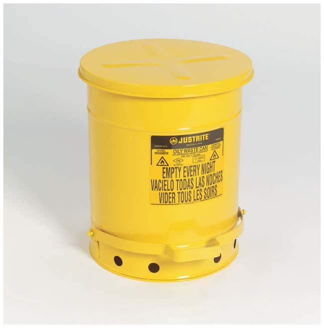 Justrite™Galvanized-Steel Oily Waste Safety Cans Yellow; 10 gal. (38L); Foot-Operated Cover Justrite™Galvanized-Steel Oily Waste Safety Cans