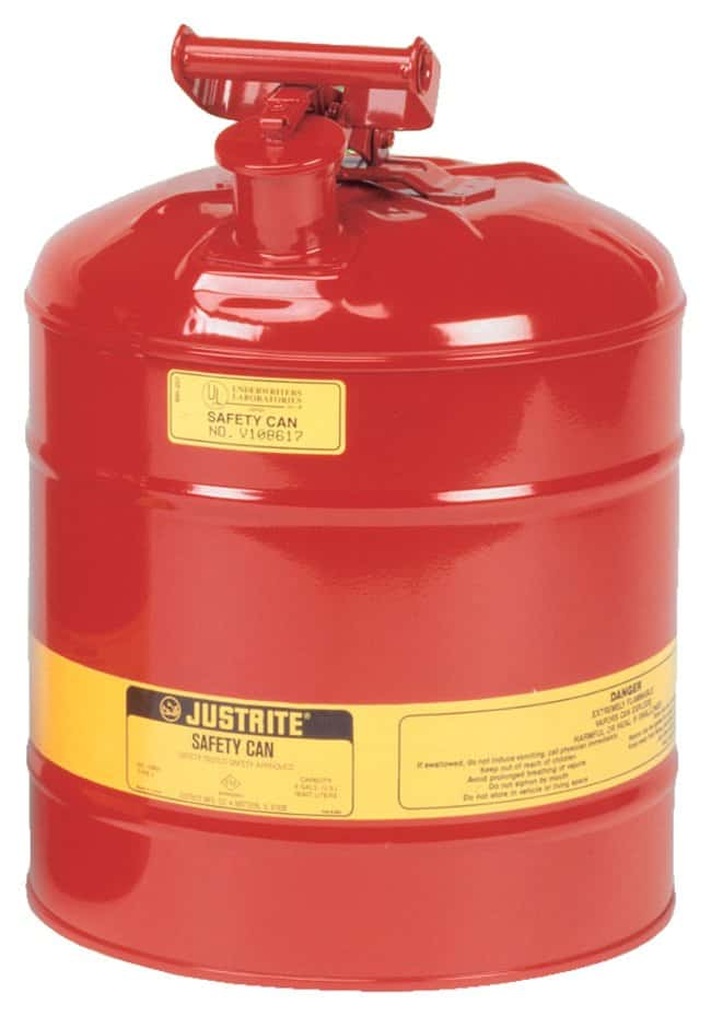 Justrite Type I Steel Safety Cans  Red; 5 gal. (19L):Teaching Supplies