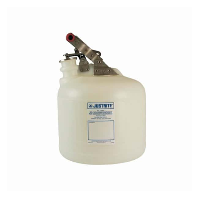 Justrite™Nonmetallic Self-Close Corrosive Safety Containers Fittings: Stainless steel; Capacity: 2.50 gal.(9.5L) Justrite™Nonmetallic Self-Close Corrosive Safety Containers