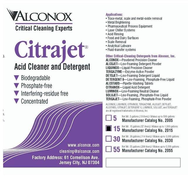 AlconoxCitrajet Low-Foaming Liquid Acid Cleaner 56.7L (15 gal.) Drum:Laboratory