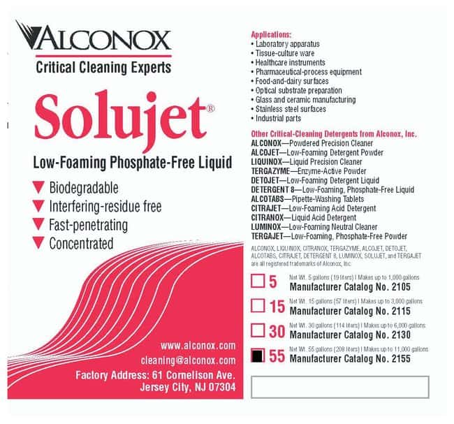 AlconoxSolujet Low-Foaming Phosphate-Free Liquid Detergent 208.2L (55 gal.)