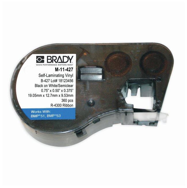 Brady™Label Maker Vinyl Cartridges (B-427) for BMP51, BMP53, BMP41 Printers Label size (W x H): 12.7 x 19.050mm (0.5 x 0.75 in.); Black on White/Clear; 1/Pk. (360 labels) Brady™Label Maker Vinyl Cartridges (B-427) for BMP51, BMP53, BMP41 Printers