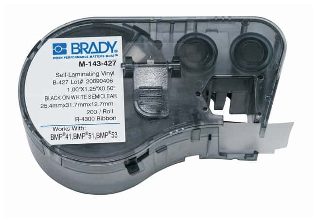 Brady™ Label Maker Vinyl Cartridges (B-427) for BMP51, BMP53, BMP41 Printers Label size (W x H): 25.4 x 31.750mm (1 x 1.25 in.); Black on White/Clear; 1/Pk. (200 labels) Brady™ Label Maker Vinyl Cartridges (B-427) for BMP51, BMP53, BMP41 Printers