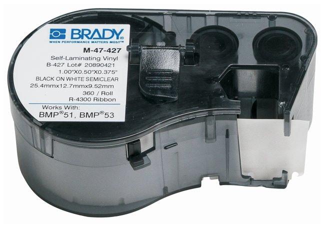 Brady™Label Maker Vinyl Cartridges (B-427) for BMP51, BMP53, BMP41 Printers Label size (W x H): 12.7 x 25.4mm (0.5 x 1 in.); Black on White/Clear; 1/Pk. (360 labels) Brady™Label Maker Vinyl Cartridges (B-427) for BMP51, BMP53, BMP41 Printers
