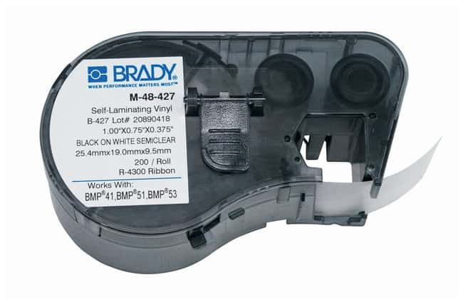 Brady™ Label Maker Vinyl Cartridges (B-427) for BMP51, BMP53, BMP41 Printers Label size (W x H): 19.050 x 25.4mm (0.75 x 1 in.); Black on White/Clear; 1/Pk. (200 labels) Brady™ Label Maker Vinyl Cartridges (B-427) for BMP51, BMP53, BMP41 Printers