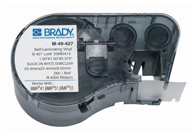 Brady™Label Maker Vinyl Cartridges (B-427) for BMP51, BMP53, BMP41 Printers Label size (W x H): 25.4 x 25.4mm (1 x 1 in.); Black on White/Clear; 1/Pk. (260 labels) Brady™Label Maker Vinyl Cartridges (B-427) for BMP51, BMP53, BMP41 Printers