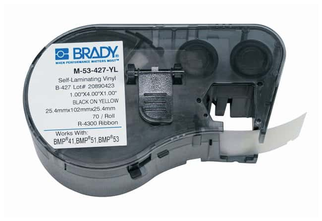 Brady™Label Maker Vinyl Cartridges (B-427) for BMP51, BMP53, BMP41 Printers Label size (W x H): 25.4 x 101.6mm (1 x 4 in.); Black on Yellow; 1/Pk. (70 labels) Brady™Label Maker Vinyl Cartridges (B-427) for BMP51, BMP53, BMP41 Printers