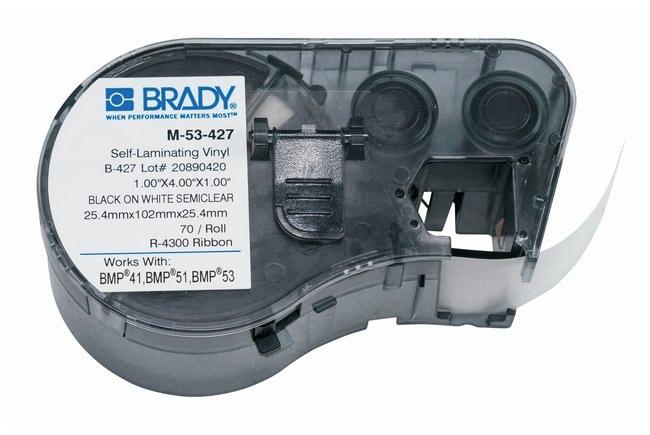 Brady™Label Maker Vinyl Cartridges (B-427) for BMP51, BMP53, BMP41 Printers Label size (W x H): 25.4 x 101.6mm (1 x 4 in.); Black on White/Clear; 1/Pk. (70 labels) Brady™Label Maker Vinyl Cartridges (B-427) for BMP51, BMP53, BMP41 Printers