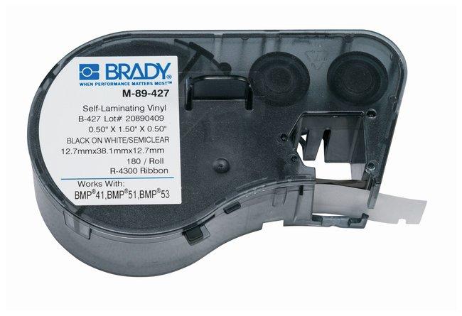Brady™Label Maker Vinyl Cartridges (B-427) for BMP51, BMP53, BMP41 Printers Label size (W x H): 12.7 x 38.1mm (0.5 x 1.5 in.); Black on White/Clear; 1/Pk. (180 labels) Brady™Label Maker Vinyl Cartridges (B-427) for BMP51, BMP53, BMP41 Printers