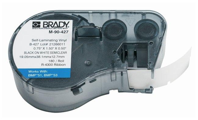 Brady™Label Maker Vinyl Cartridges (B-427) for BMP51, BMP53, BMP41 Printers Label size (W x H): 19.050 x 38.1mm (0.75 x 1.5 in.); Black on White/Clear; 1/Pk. (180 labels) Brady™Label Maker Vinyl Cartridges (B-427) for BMP51, BMP53, BMP41 Printers